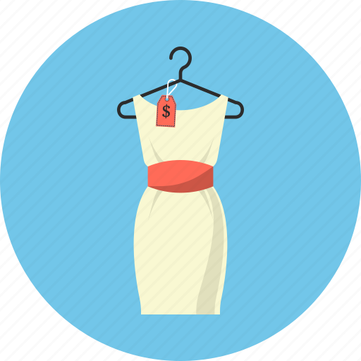 clothes, dress, hanger, price icon