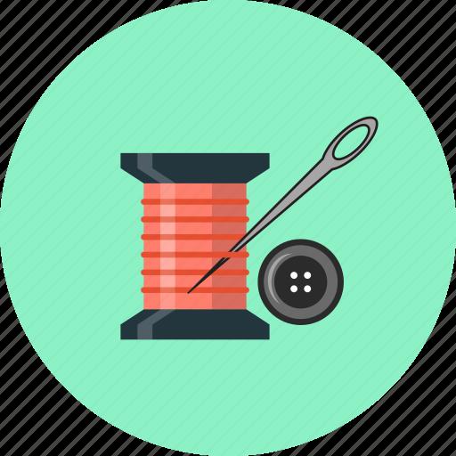 buttons, needle, spool, thread, yarn icon