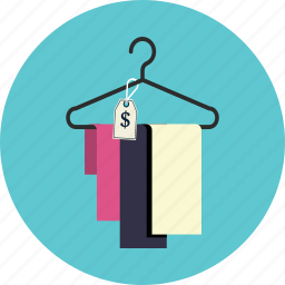 hanger, price, textile icon