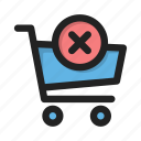business, cart, contents, delete, finance, money, shop icon