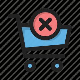 business, cart, contents, delete, finance, money, shop icon