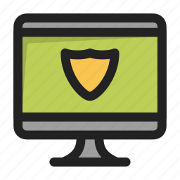 antivirus, device, imac, monitor, protection icon