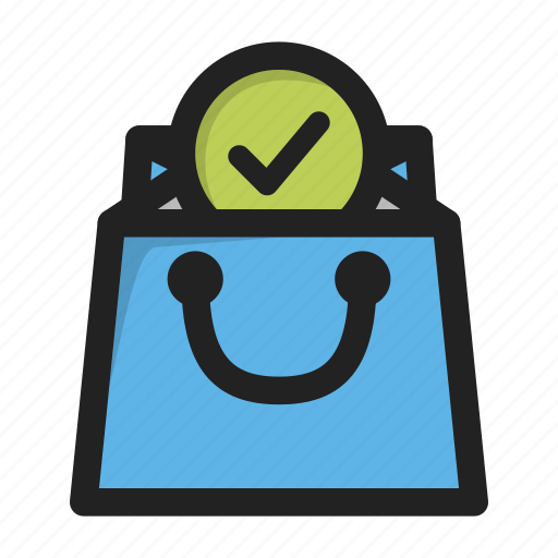 add, bag, business, buy, finance, shopping, tick icon