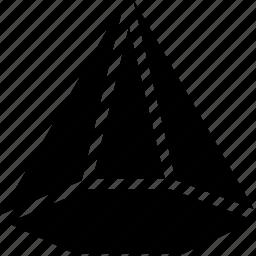 cone, geomentry, hexagonal, line, shape icon