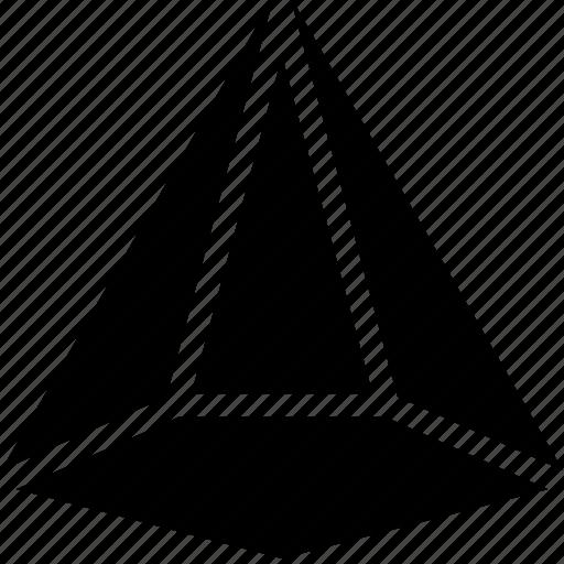 cone, diagram, line, pentagonal, shape icon