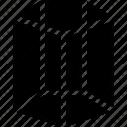 cylinder, diagram, geomentry, pentagonal, shape icon