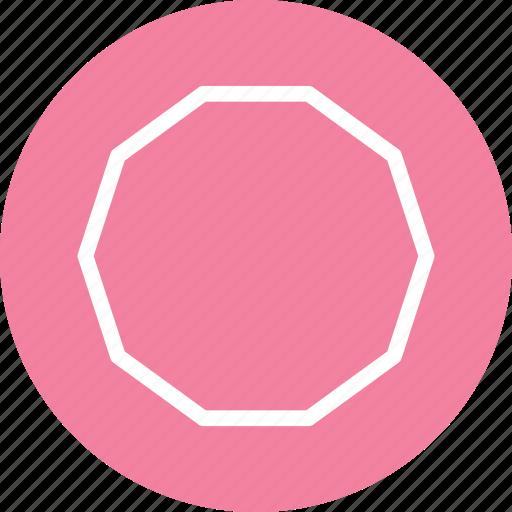 decagon, decagon icon, decagon shape, decagon symbol, polygon icon icon