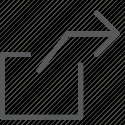 arrow, box, forward, right, send, share, transfer icon