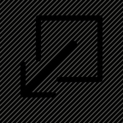 down, exit, left, minimize, send icon