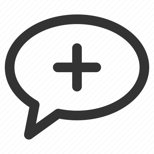 add, bubble, chat, conversation, mind, sharpicons icon