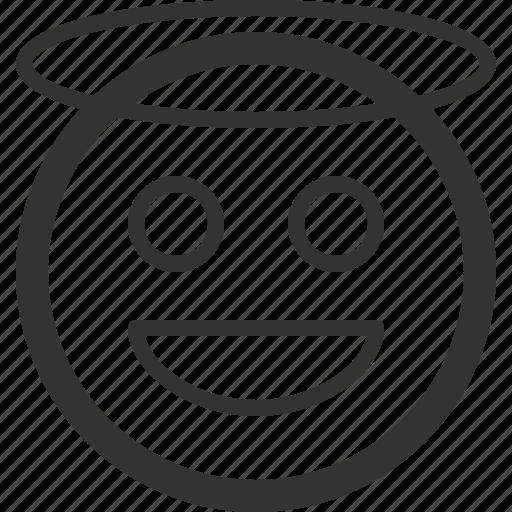 angel, chat, emoji, emoticons, face, sharpicons, texting icon
