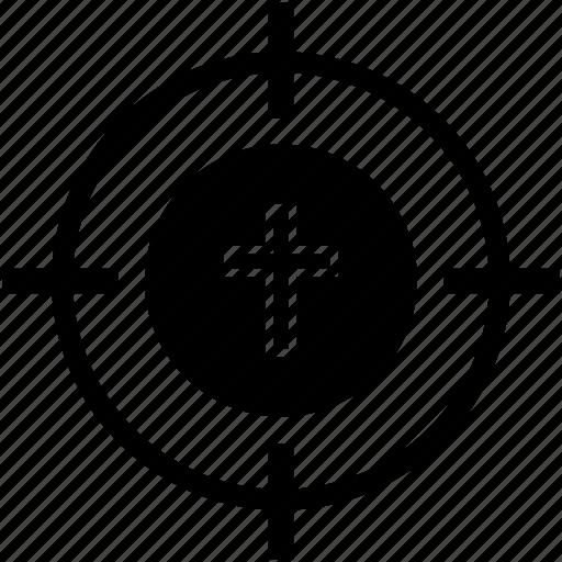 christianity, cross, religion, round icon