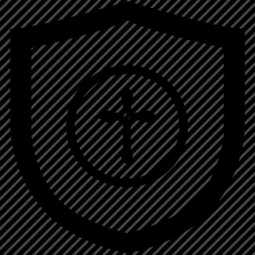 christian, cross, religion, round, sign icon