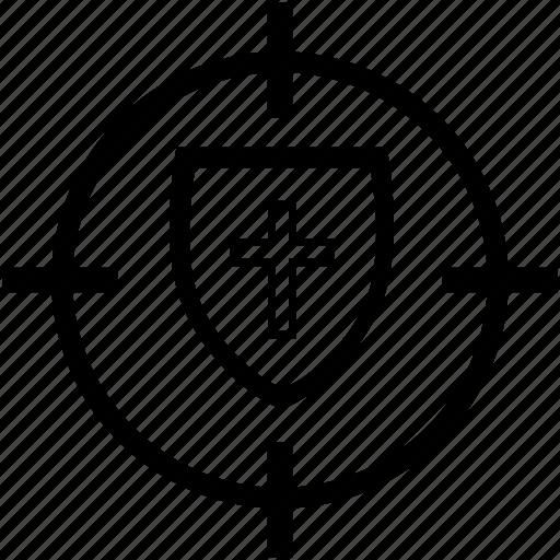 christianity, cross, faith, shield icon