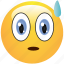 emoticon, nervous, shocked, smiley, sweat icon