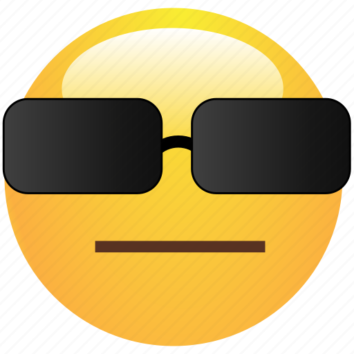 cool, emoticon, glasses, pokerface, smiley icon