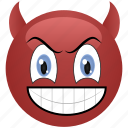 angry, demon, devil, emoticon, menacing, smiley