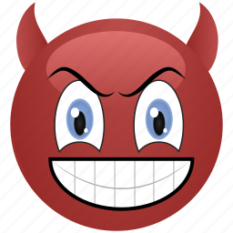 angry, demon, devil, emoticon, menacing, smiley icon