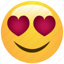 cheerful, cute, emoticon, hearts, love, smile, smiley icon