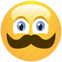 cheerful, cute, emoticon, man, mustache, smile, smiley