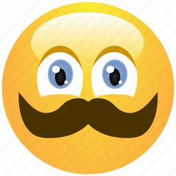 cheerful, cute, emoticon, man, mustache, smile, smiley icon