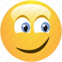 cheerful, curious, cute, emoticon, positive, smile, smiley icon