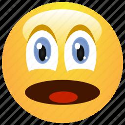 emoticon, shocked, smiley, surprised icon