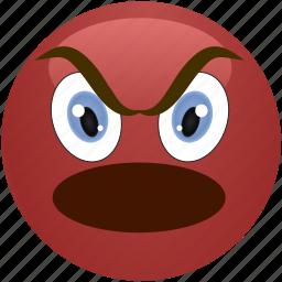 angry, emoticon, evil, menacing, shouting, smiley icon
