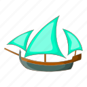 cartoon, object, sailing, ship, sign, three, wooden icon