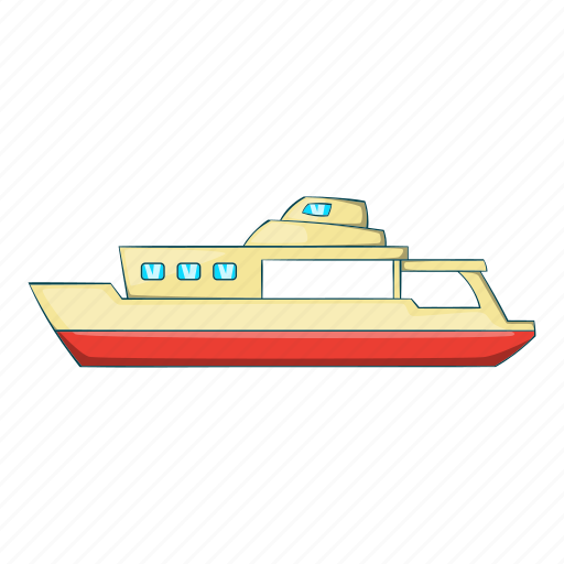boat, cartoon, nautical, object, sea, ship, sign icon