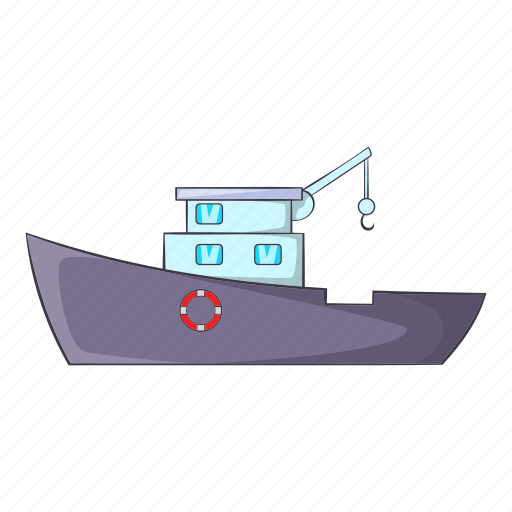 cartoon, catching, fish, object, ship, sign, travel icon