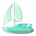 boat, cartoon, object, sail, sign, speed, yacht icon