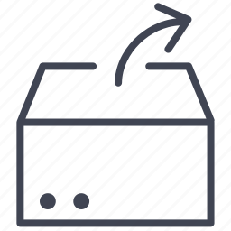 arrow, box, crate, delivery, extract, shipping icon