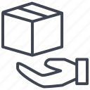box, delivery, hand, present, shipping icon