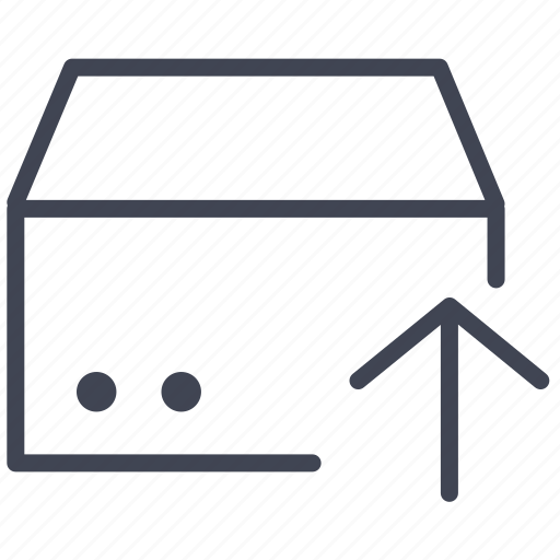 arrow, box, crate, delivery, move, shipping, up icon