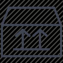arrow, arrows, box, right, shipping, up, way icon