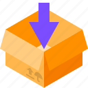 arrow, box, cardboard, loading