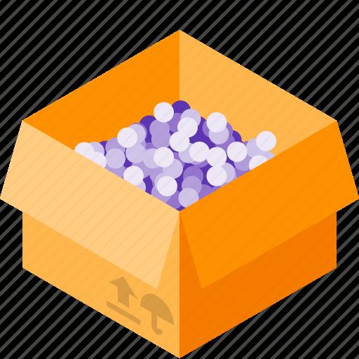 balls, box, delivery, filler icon