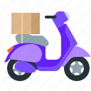 box, motorbike, motorcycle, shipping