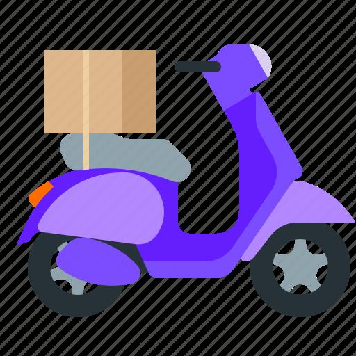 box, motorbike, motorcycle, shipping icon