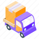 delivery, isometric, truck, van icon