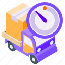delivery, isometric, timer, truck icon