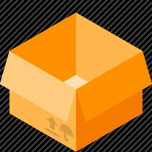 box, cardboard, empty, open icon