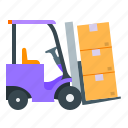forklift, loader, truck, warehouse icon