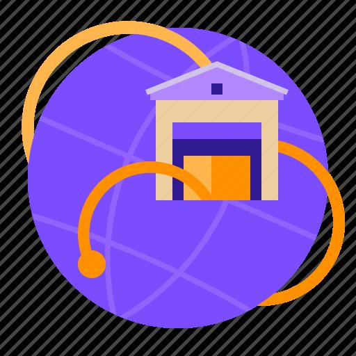 connection, storage, warehouse, world icon