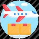 air freight, air logistics, air shipping, air delivery, air cargo icon