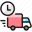 delivery, truck, clock