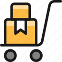 warehouse, cart, package, ribbon