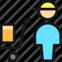 warehouse, cart, worker