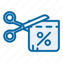 coupon, delivery, discount, sale, saving, scissors, shipping icon